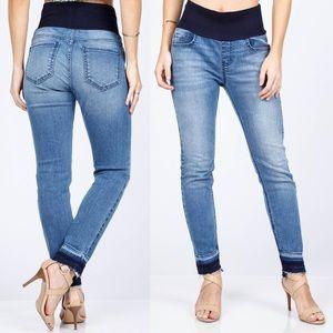 M. Rena Tummy Control Raw Edge High Waist Jeans